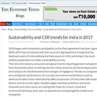 Sustainability and CSR trends for India in 2017